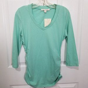 Boston Proper Ruched Long Sleeve V-Neck Blouse M